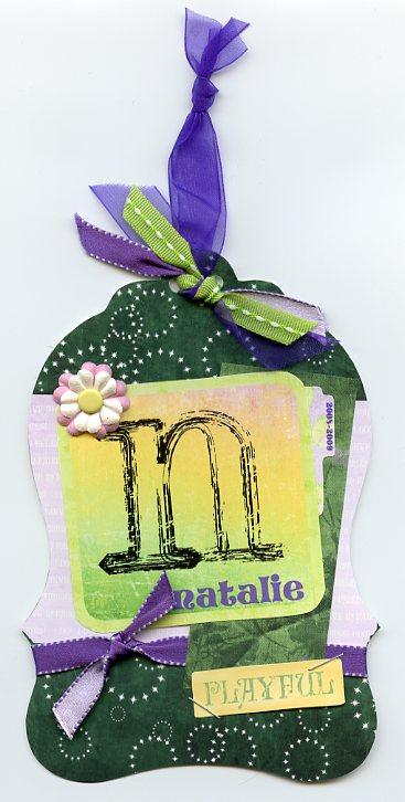 A bookbag tag for Natalie